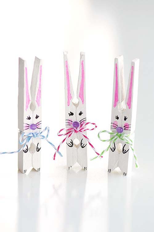 Clothespin Bunnies #easter #diy #dollarstore #crafts #kids  #decorhomeideas