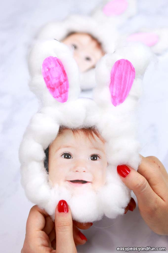 Cotton Ball Bunny Craft #easter #diy #dollarstore #crafts #kids  #decorhomeideas