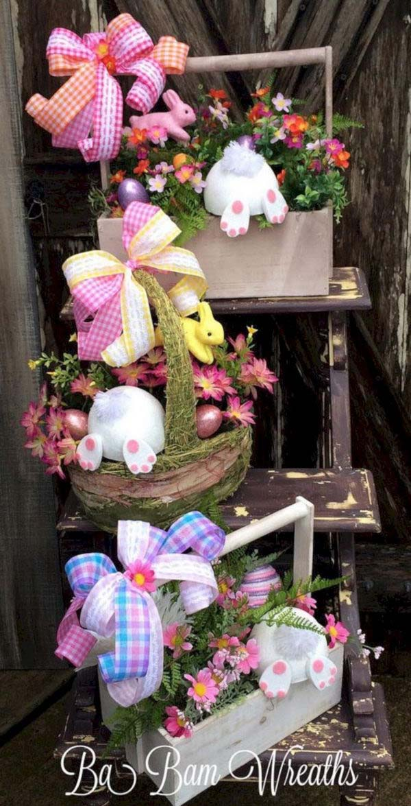 Cute Bunnies Easter Decor #easter #diy #porch #decor #decorhomeideas