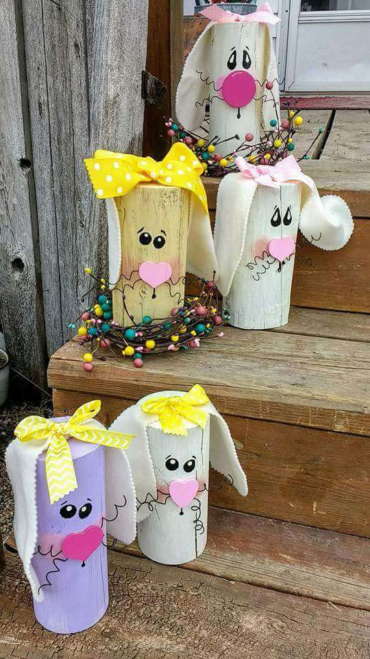 Cute Bunny Logs #easter #diy #porch #decor #decorhomeideas