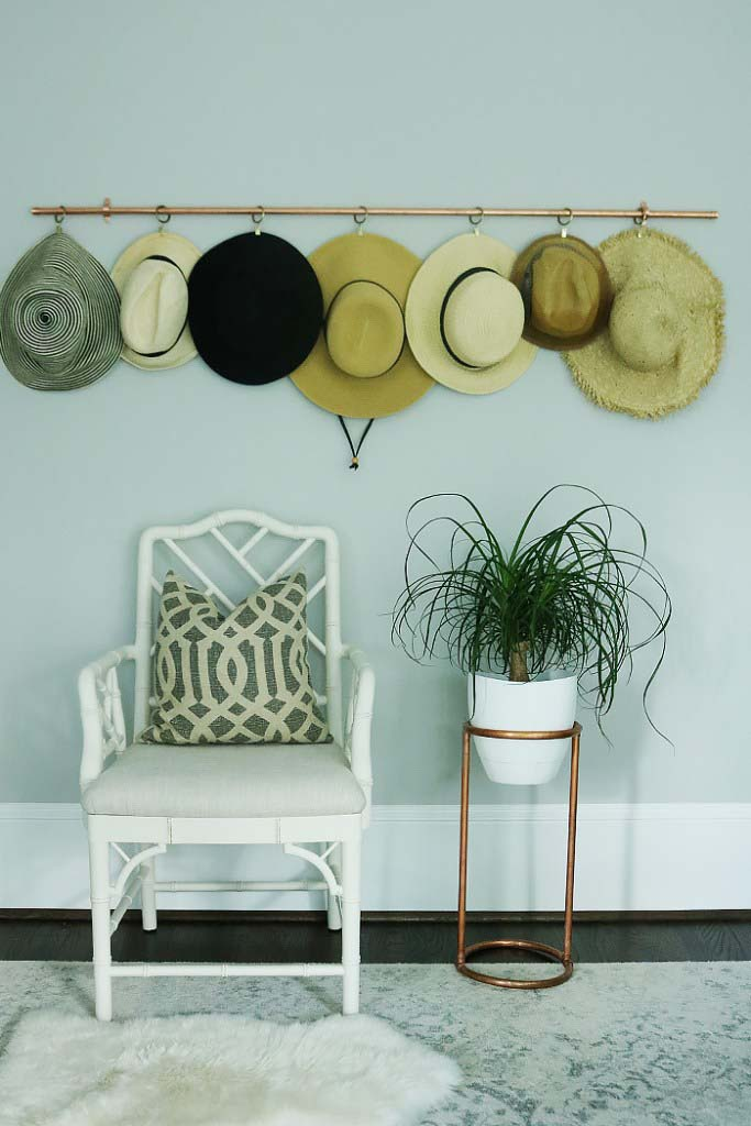 DIY Copper Hat Rack #hatrack #diy #organizer #decorhomeideas