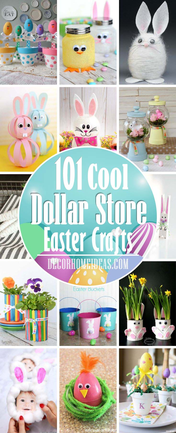 DIY Dollar Store Easter Crafts For You and Your Kid. Bunnies, centerpieces, banners, decorations, paper crafts and more. #diy #dollarstore #crafts #easter #kids #decorhomeideas