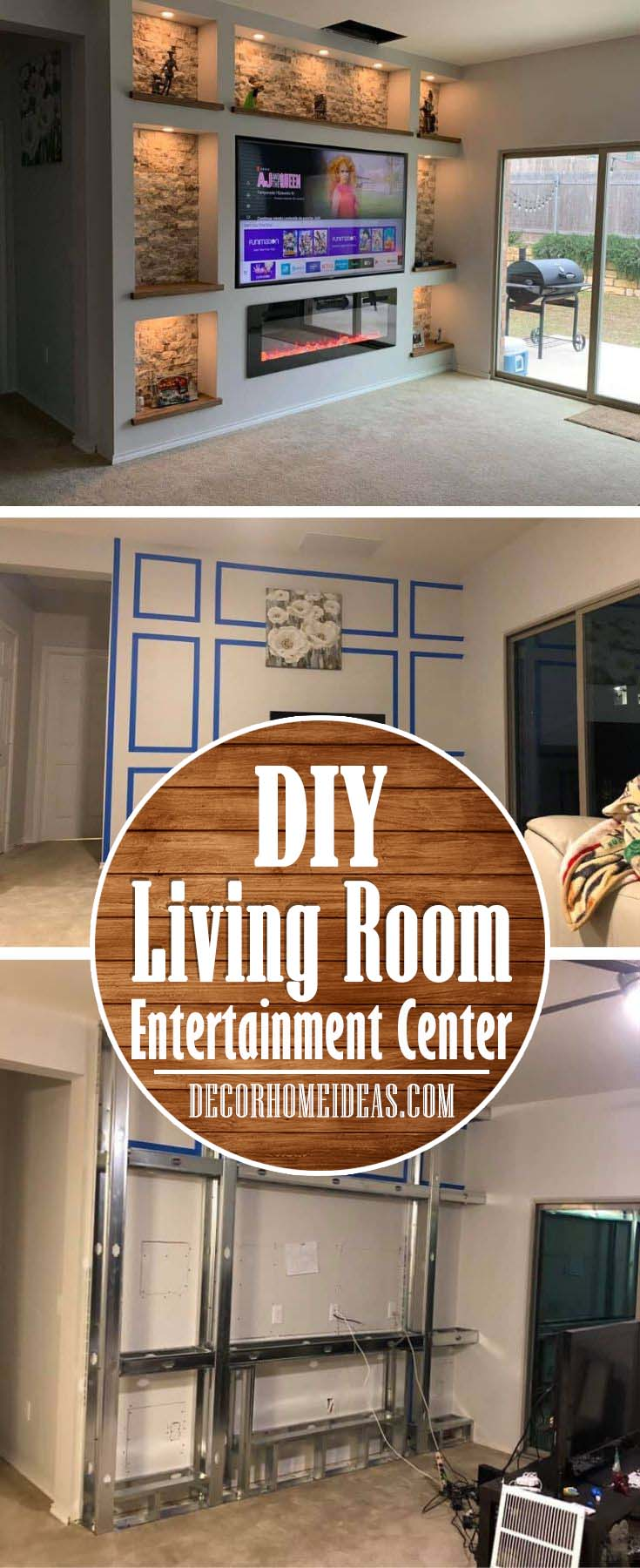 DIY Drywall Living Room Entertainment Center #diy #drywall #livingroom #tv #entertainment #decorhomeideas
