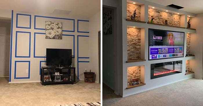 DIY Drywall Project Tv And Fireplace #diy #drywall #livingroom #tv #entertainment #decorhomeideas