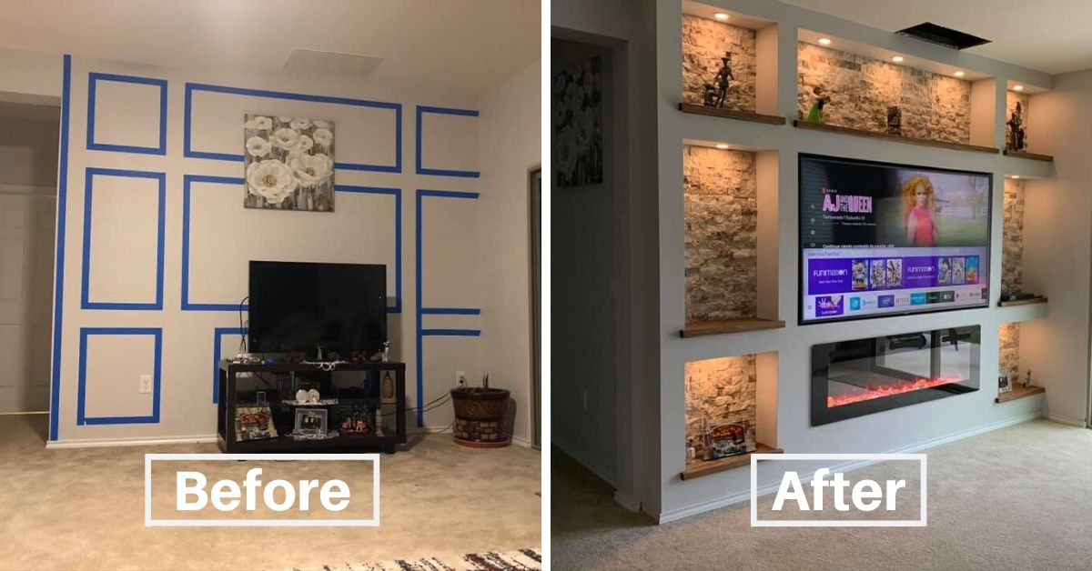 DIY Drywall Project Tv And Fireplace