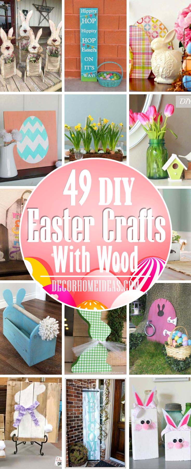 DIY Easter Crafts With Wood. Best wooden crafts to celebrate Easter and decorate for the holiday. Porch decor, centerpieces, various decorations. #diy #easter #crafts #wood #decorhomeideas