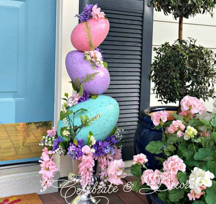 DIY Easter Egg Topiary #easter #diy #porch #decor #decorhomeideas