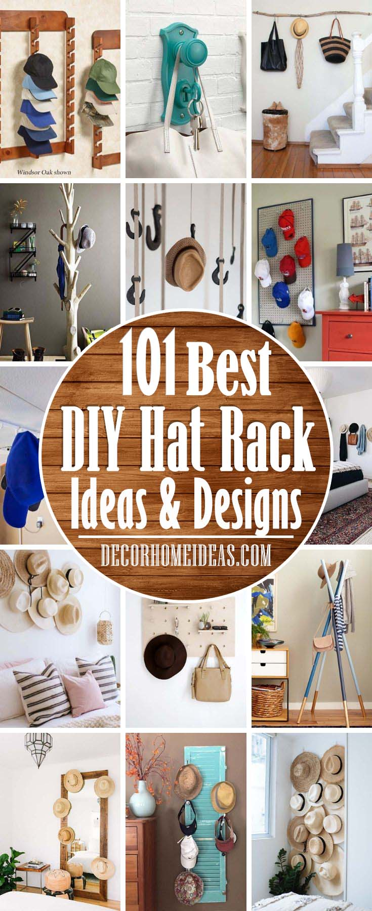 DIY Hat Rack Ideas. Are you looking for the best way to organize your hats? Holder, hook, stand or plain shelf, just to name a few of these brilliant DIY hat rack ideas.  #diy #hatrack #organizer #decorhomeideas