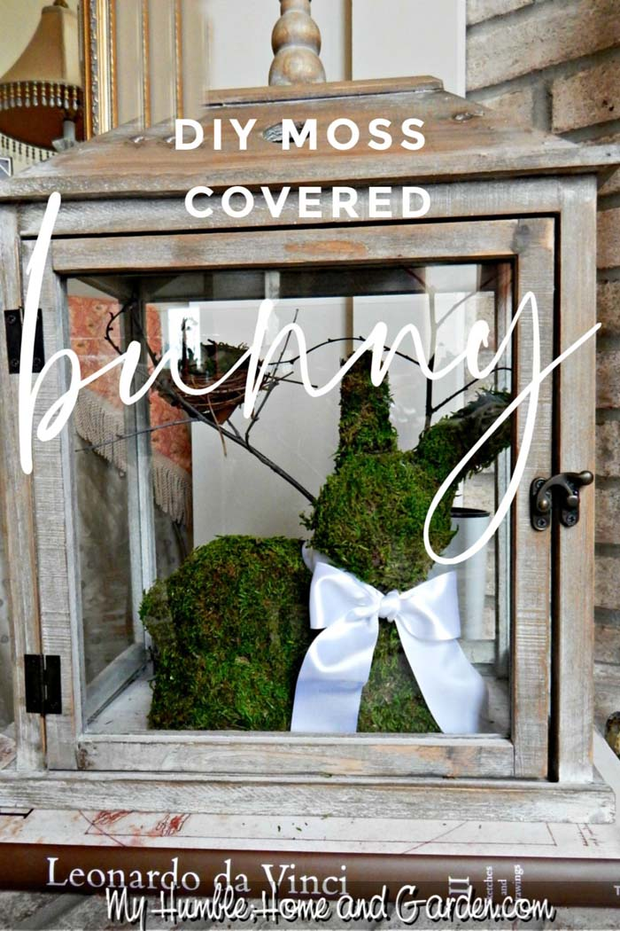 DIY Moss Covered Bunny #easter #diy #porch #decor #decorhomeideas