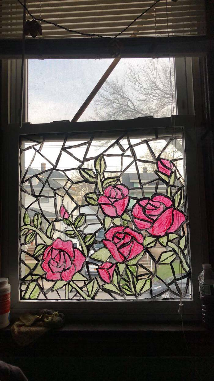 Diy Stained Glass With Roses