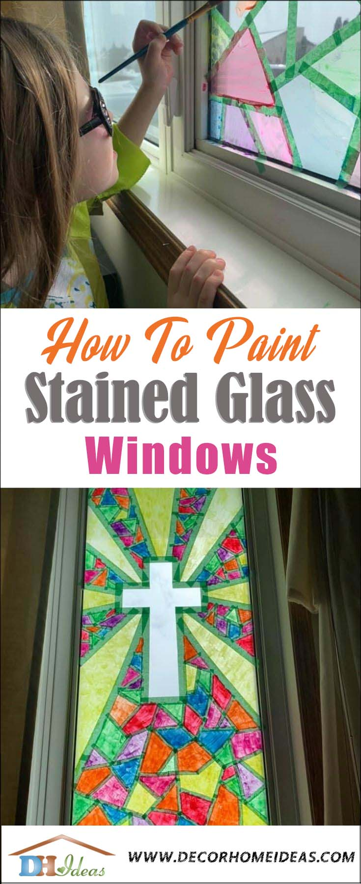 DIY Window Stained Glass Tutorial. How to make your own stained glass windows. #diy #crafts #kids #paint #stain #windows #decorhomeideas