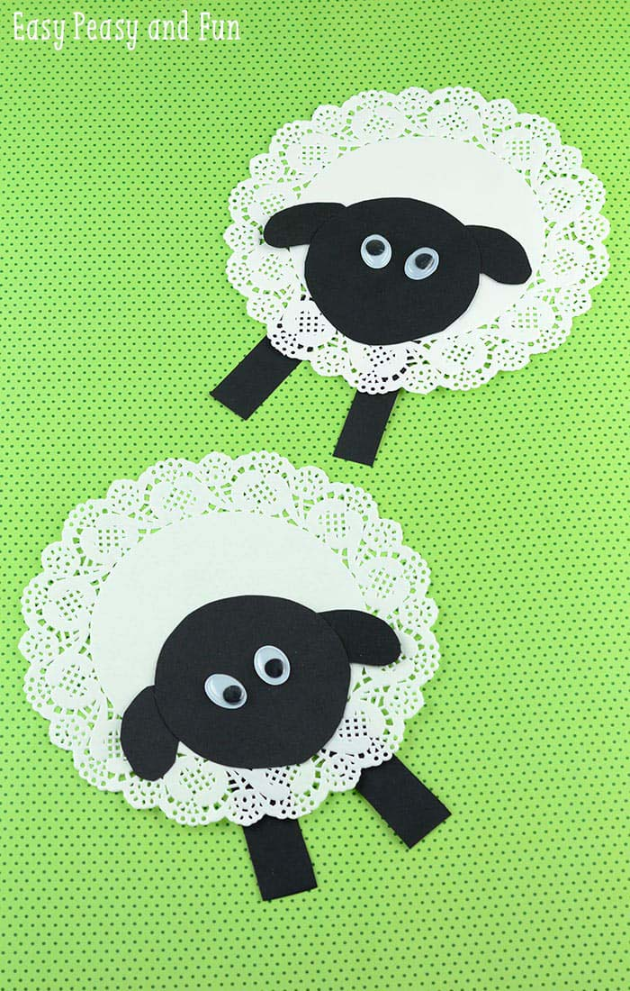 Doily Sheep Craft #easter #diy #dollarstore #crafts #kids  #decorhomeideas
