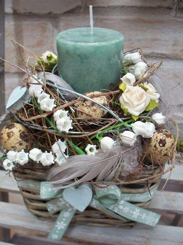 Easter Basket With Candle #easter #diy #rustic #decor #decorhomeideas