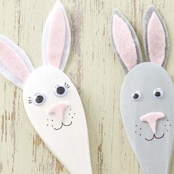 Easter Bunny Spoon Puppets #easter #diy #dollarstore #crafts #kids  #decorhomeideas