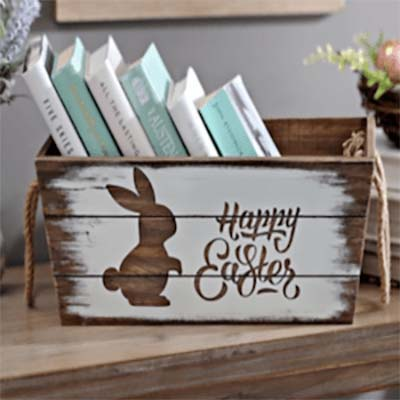 Easter Bunny Wood Crate #easter #diy #cheap #decor #decorhomeideas