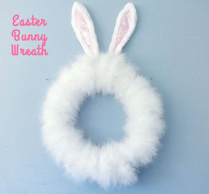 Easter Bunny Wreath Idea #easter #diy #cheap #decor #decorhomeideas