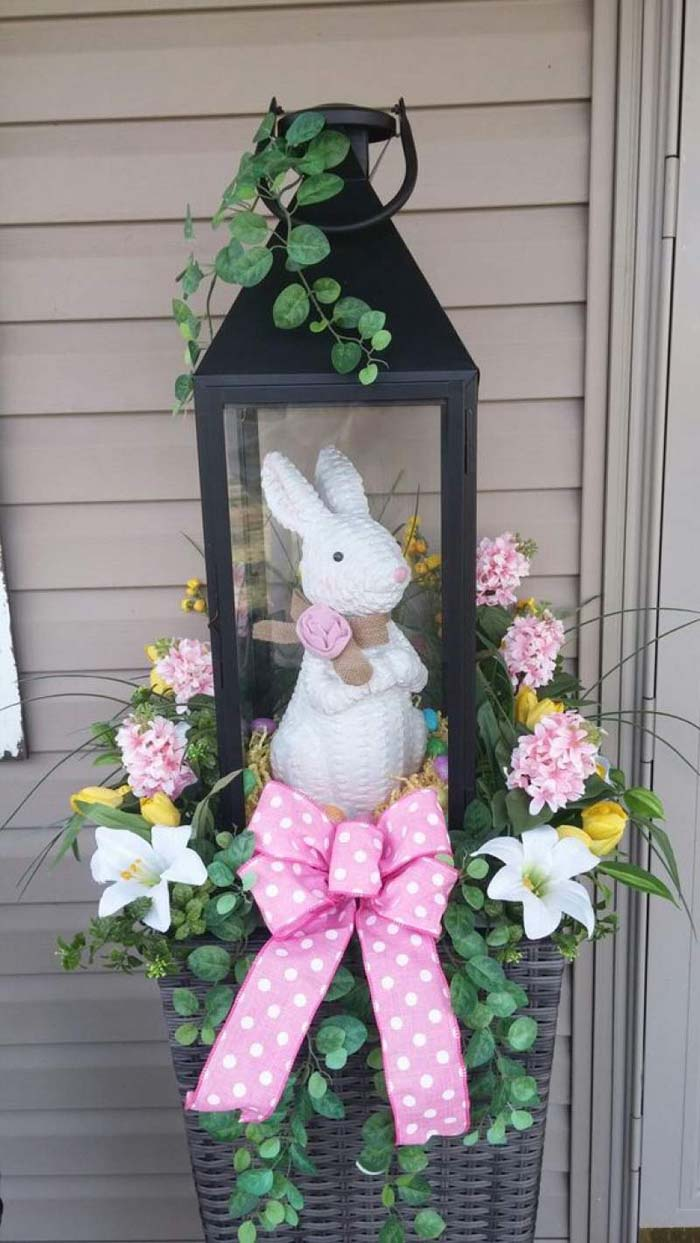 Easter Decor Lantern Bunny #easter #diy #porch #decor #decorhomeideas