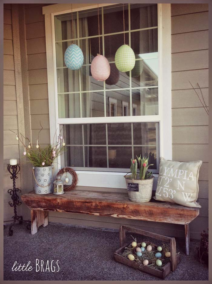 Easter Egg Front Porch #easter #diy #porch #decor #decorhomeideas