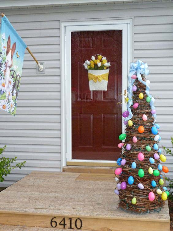Easter Egg Grapevine Tree #easter #diy #porch #decor #decorhomeideas