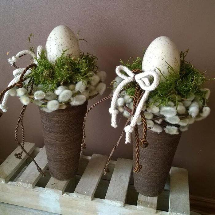 Easter Egg Nest in a Vase #easter #diy #rustic #decor #decorhomeideas