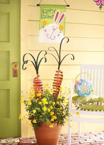 Easter Flower Pot #easter #diy #porch #decor #decorhomeideas