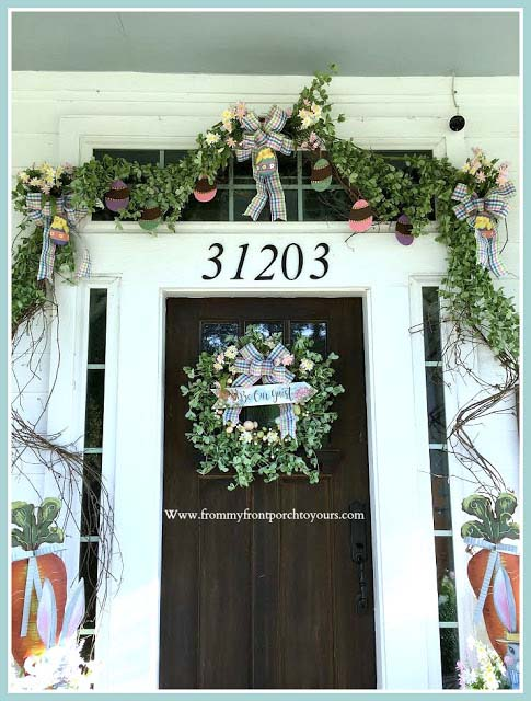 Easter Front Porch Decoration #easter #diy #porch #decor #decorhomeideas