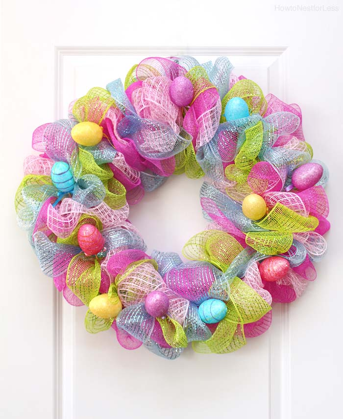 Easter Mesh Wreath #easter #diy #porch #decor #decorhomeideas
