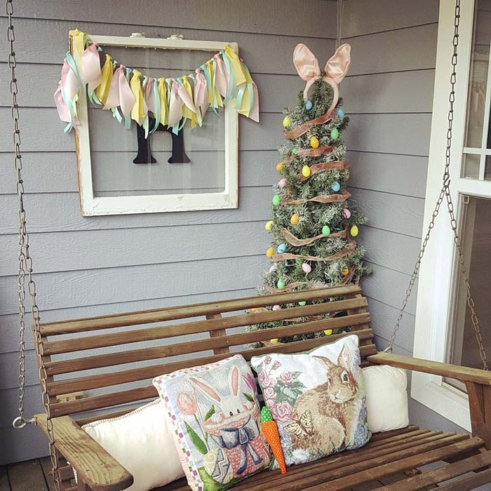 Easter Porch Decoration Swing #easter #diy #porch #decor #decorhomeideas