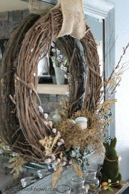 Easter Wreath with Burlap Accent #easter #diy #rustic #decor #decorhomeideas
