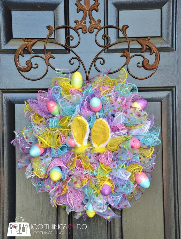 Easy Dollar Tree Wreath #easter #diy #porch #decor #decorhomeideas