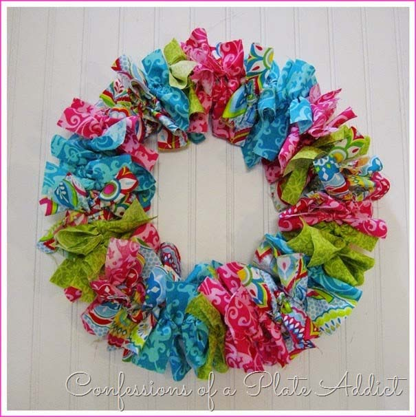 Easy No Sew Fabric Wreath #easter #diy #cheap #decor #decorhomeideas