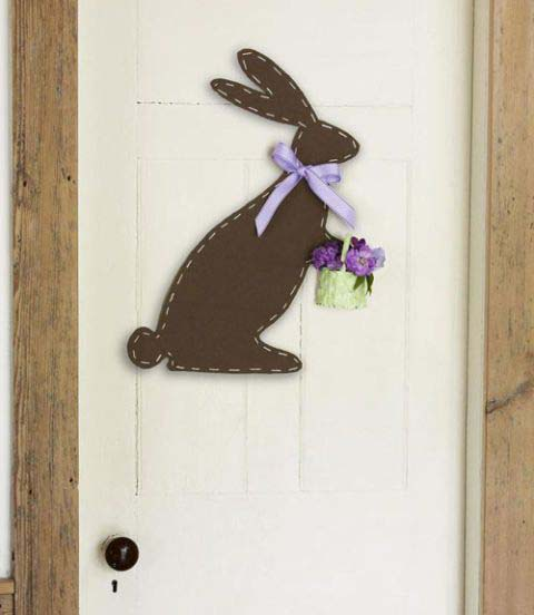 Felt Bunny Door Hanger #easter #diy #cheap #decor #decorhomeideas