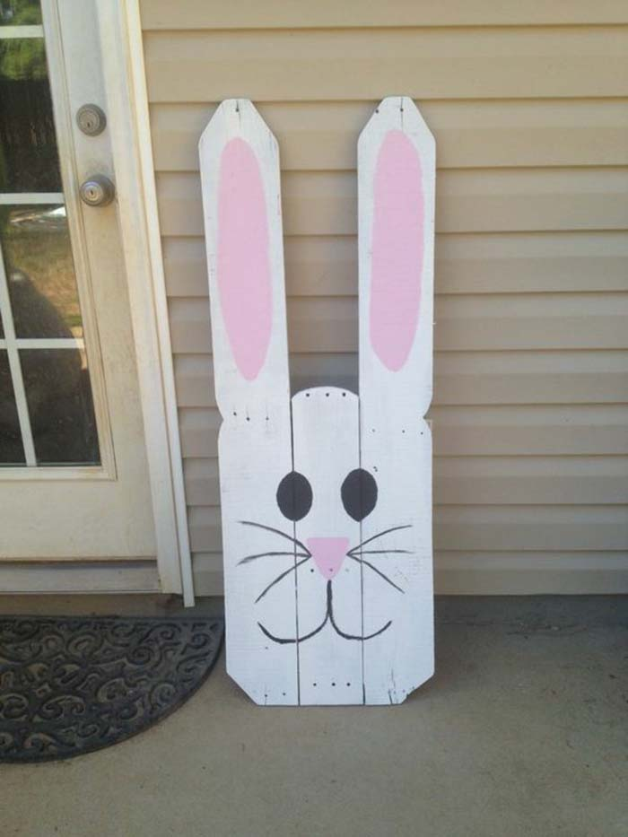 Fence Picket Bunny #easter #diy #porch #decor #decorhomeideas