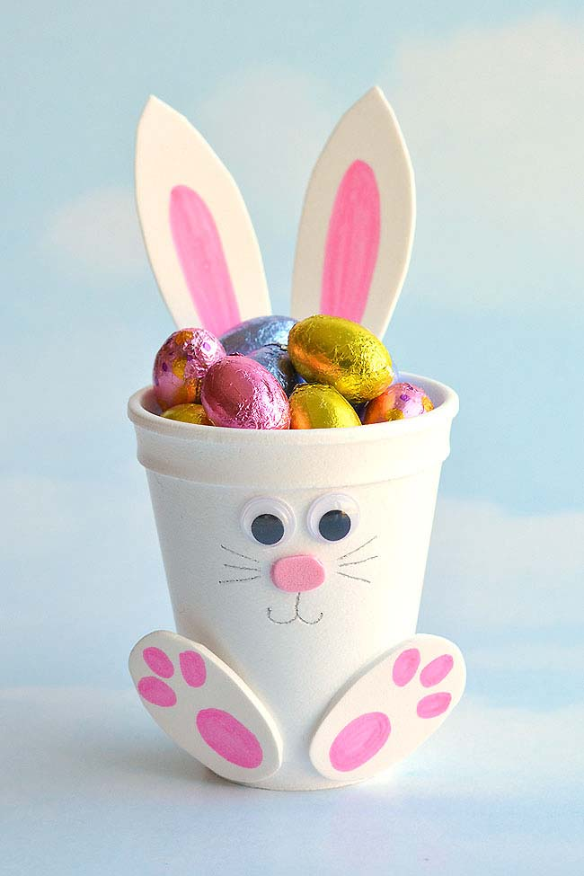 Foam Cup Bunny Candy Holder #easter #diy #dollarstore #crafts #kids  #decorhomeideas