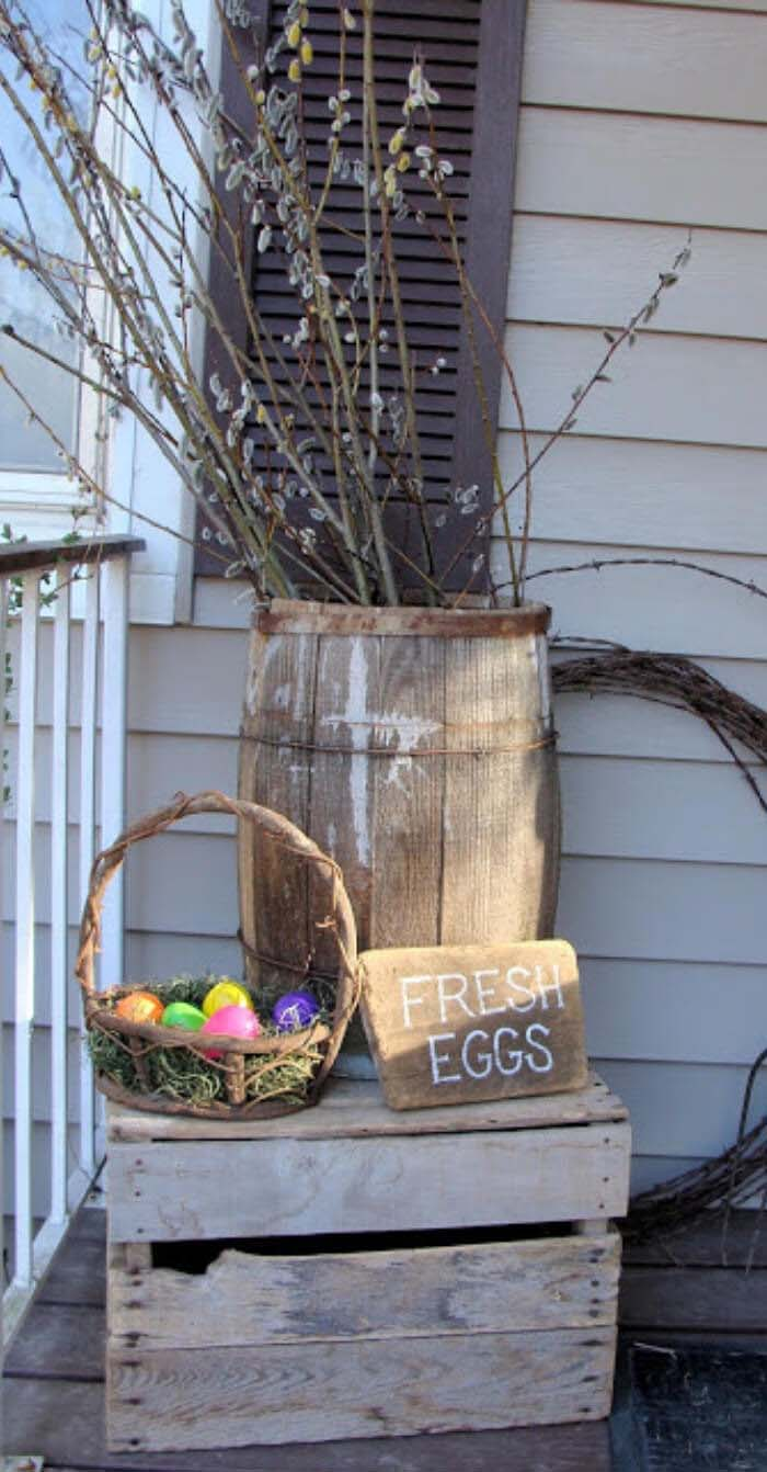 Fresh Eggs Wine Barrel #easter #diy #porch #decor #decorhomeideas