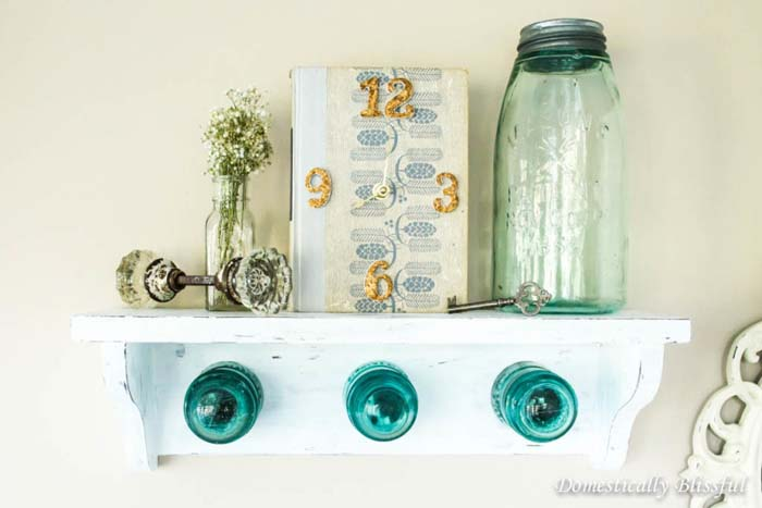 Antique Glass Insulator Coat Rack Shelf #hatrack #diy #organizer #decorhomeideas