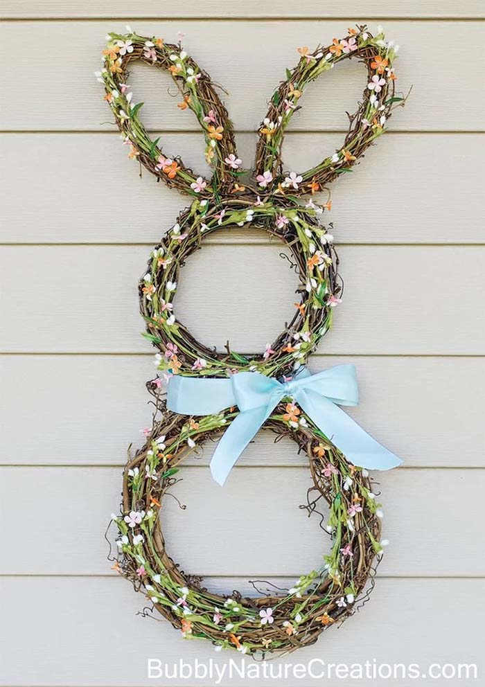 Grapevine Bunny Wreath #easter #diy #porch #decor #decorhomeideas