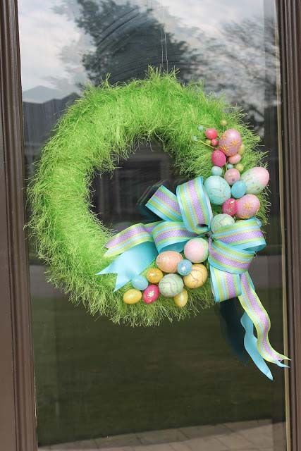 Grass Egg Wreath #easter #diy #porch #decor #decorhomeideas