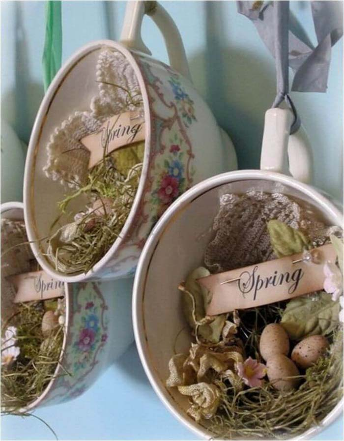 Hanging Teacup Curio Easter Nests #easter #diy #rustic #decor #decorhomeideas
