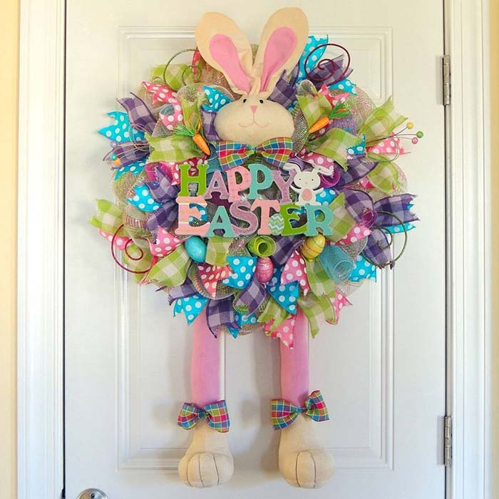 Happy Easter Deco Mesh Wreath #easter #diy #porch #decor #decorhomeideas