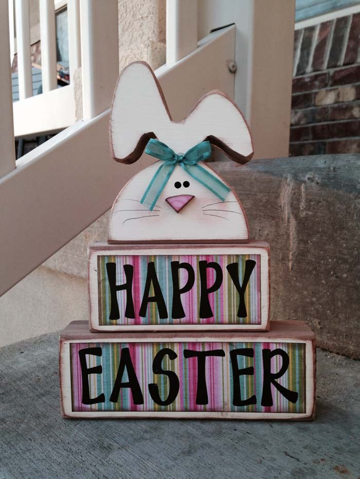 Happy Easter Stacker #easter #diy #porch #decor #decorhomeideas