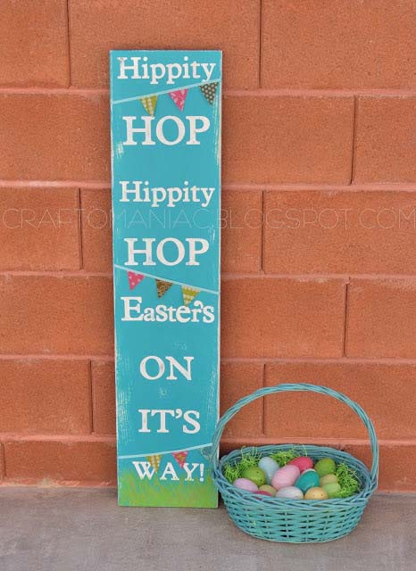 Hippity Hop Easter Board #easter #diy #wood #crafts #decorhomeideas