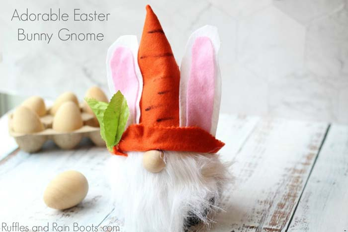 How to Make an Easter Gnome with felt and bunny ears #easter #diy #dollarstore #crafts #decorhomeideas