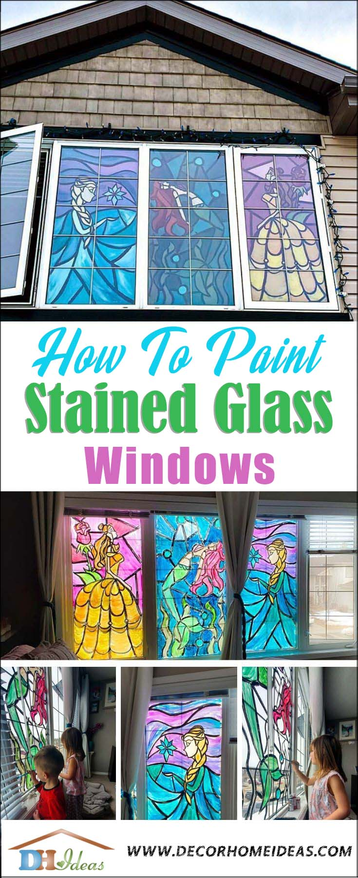 How To Paint Stained Glass Windows. Fun and easy project to do with your kids.  #diy #crafts #kids #paint #stain #windows #decorhomeideas