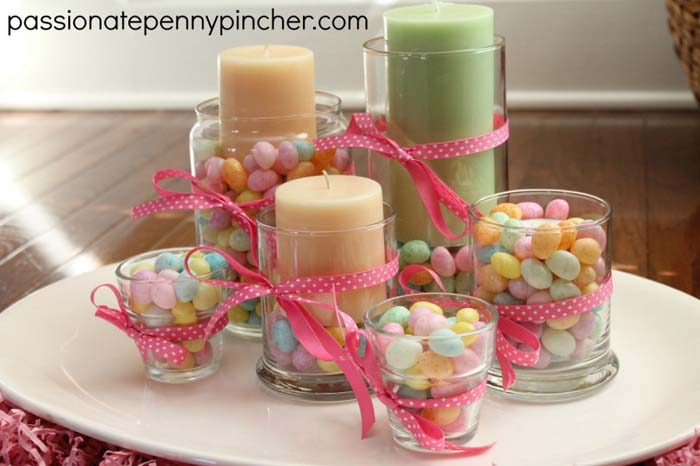 Jelly Bean Candle Centerpiece #easter #diy #cheap #decor #decorhomeideas