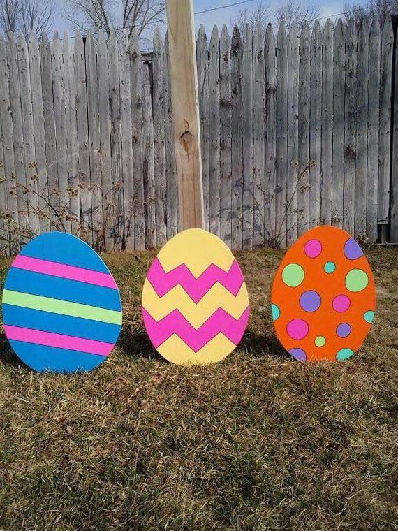 Large Wood Egg Stakes #easter #diy #wood #crafts #decorhomeideas