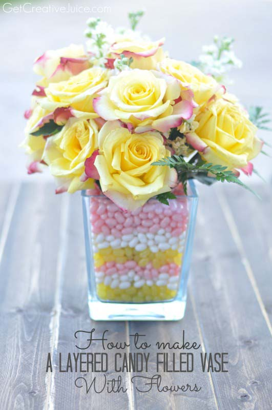 Layered Candy Filled Vase with Flowers #easter #diy #cheap #decor #decorhomeideas