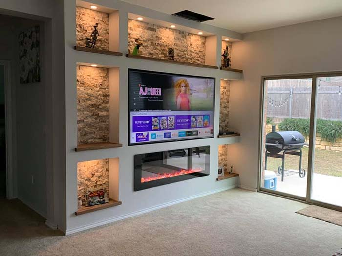 Living Room Drywall Project #diy #drywall #livingroom #tv #entertainment #decorhomeideas