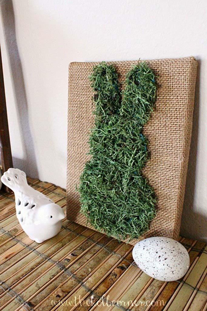 Moss Covered Bunny Canvas Art #easter #diy #cheap #decor #decorhomeideas