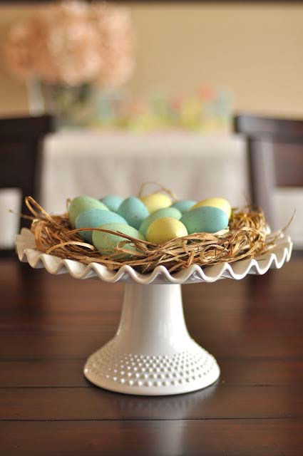 Nest Cake Stand #easter #diy #cheap #decor #decorhomeideas